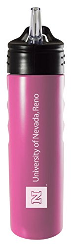 University of Nevada, Reno 24oz. Stainless Steel Grip Water Bottle with Straw in Pink University of Nevada