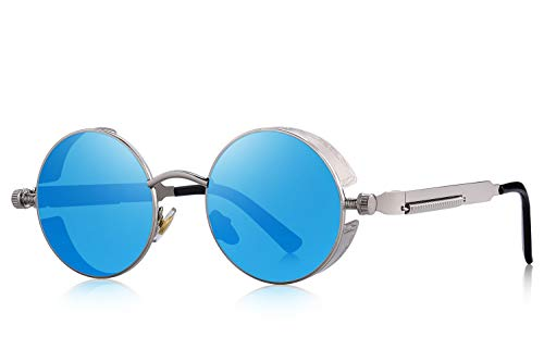 MERRY'S Gothic Steampunk Sunglasses for Women Men Round Lens Metal Frame S567(Silver&Blue, ()