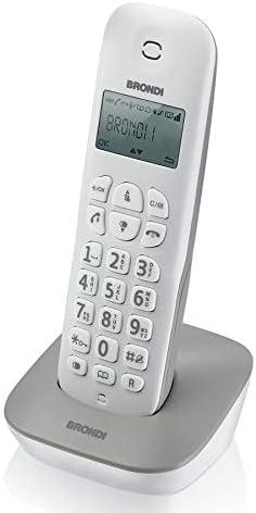 Brondi Gala - Teléfono (Teléfono DECT, Terminal inalámbrico, 20 entradas, Identificador de Llamadas, Gris, Blanco): Amazon.es: Electrónica
