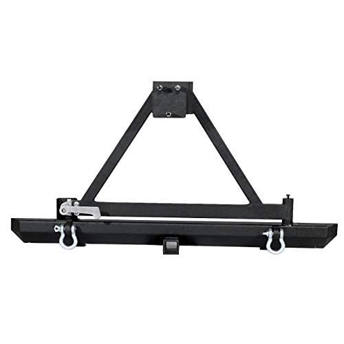 Rear Bumper W/Tire Carrier & 2 inch Hitch Receiver for Jeep Wrangler YJ TJ 1987 1988 1999 1990 1991 1992 1993 1994 1995 1996 1997 1998 1999 2000 2001 2002 2003 2004 2005 2006 ()