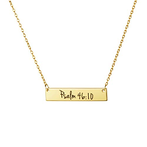(MEMGIFT Religious Gifts for Teen Girl Inspirational Bar Pendant Bible Verse Engraved Long Chain Christian Necklace for)