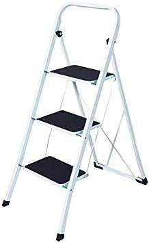 WURKO 130111 - Taburete escalera 3 peldaños (vs1040) tubo cuadrado: Amazon.es: Bricolaje y herramientas