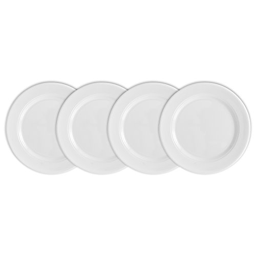 Q Squared Diamond Round Bread & Butter Plate, 5-1/2-inches, Set of 4, White by Q Squared (Image #2)