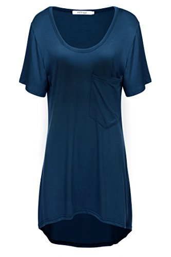 Meaneor Women's High Low Hem Scoop Neck Loose Casual T-shirt Tunic Top Navy Blue M