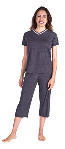icking Sleepwear for Women - Kristi Capri Set - Cool Fabric Technology (Medium (8-10), Midnight) ()