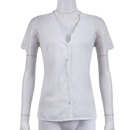 Luckycat Blusa Sexy Mujer de Verano Blusa de Manga Corta de Gasa Casual de Mujer Camisetas de Mujeres Camiseta Camisola Cami Tops Camisas Casual Blusas Crop ...