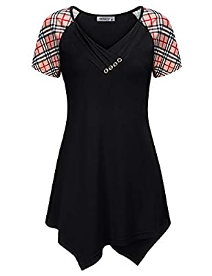 MOQIVGI Women's Short Sleeve V Neck Button Trim Asymmetrical Hem Tunic Tops Casual Flowy Blouse with Pockets