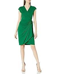 Lark & Ro Womens Classic Cap Sleeve Wrap Dress Dress