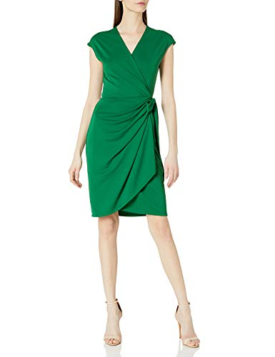 Amazon Brand - Lark & Ro Women's Classic Cap Sleeve Wrap Dress, Emerald, X-Large