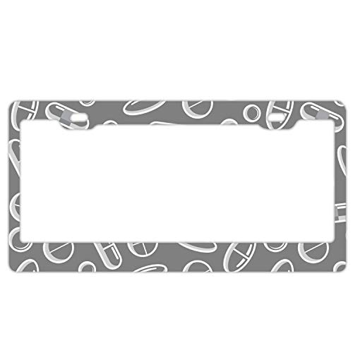 Product Express Personalized Gray Pills Pattern License Plate Frame Metal Gills