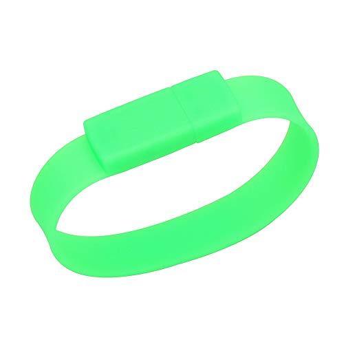Green Silicone Rubber Bracelet with 128GB Flash Drive USB Memory Stick Easter Valentines Mothers Fathers Day Graduate Stocking Stuffer for Boys Men Girls Women Students