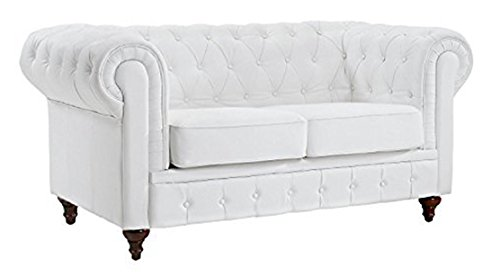 Classic Scroll Arm Tufted Bonded Leather Chesterfield 2 Seater Loveseat (White) by Divano Roma Furniture