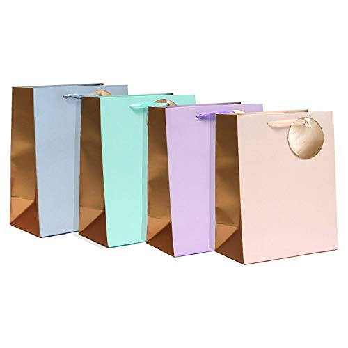 Assorted Matte - Gift Expressions Medium Size Gift Bags - 3 Set of 4 Color Designs Matte with Metallic Printing Assorted Gradation Color Everyday Gift Bags for Mother's Day, Birthday and Wedding(Bougie, 12 pcs)
