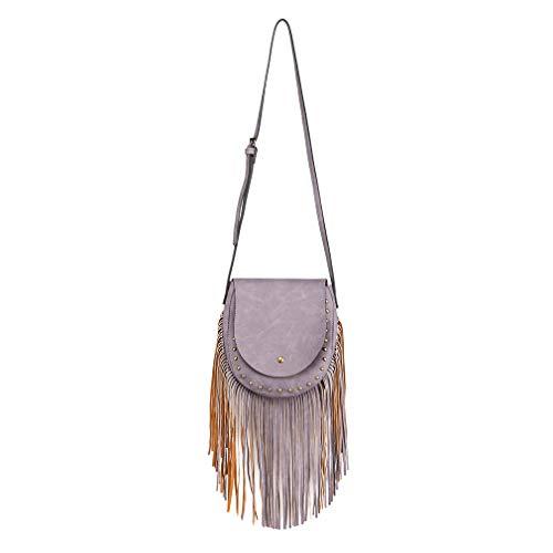 Schoulder Suede Closure Look Body Miss Ladies Women Purple Lulu Magnetic Fringe for Bag Trend Flap Boho with Bag Handbags Cross Button Tassel Hobo FFqtwX