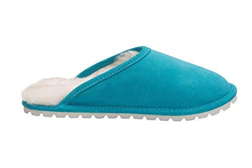 Luxe Chaussons Mouton Turquoise Femmes Vogar Avec Pantoufles D68p Doublure Peau Chaud De Laine Y5RxT