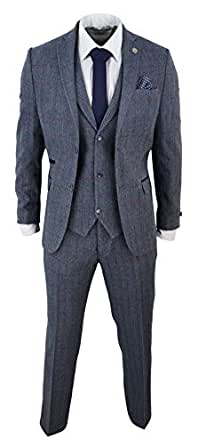 Traje de Lana a Cuadros Tweed de 3 Piezas para Hombre. Color Azul ...
