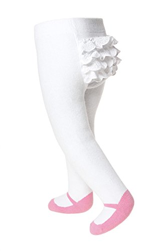 - Baby Infant Toddler Shoe Look Tights - Anti Slip Soles - Soft Cotton Knit (0-6 Months, Pretty Pink with Ruffles)