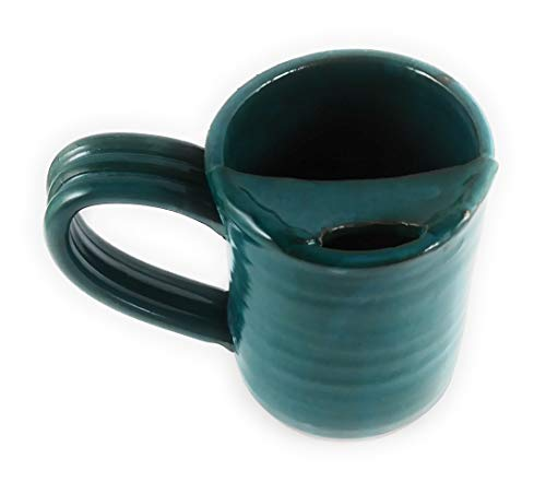 Cup Moustache (Aunt Chris' Pottery - Hand Made Clay - Left Handed Large Drinking Mug (Cup) With Mustache Guard - Blue Green (Turquoise) Glazed - Mug With Comfortable Loop Handle)