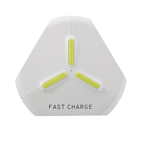 (Portable wireless charger cord Q500 QI contactless phone charger platform 2000mA triangle design for any samrtphone (white))
