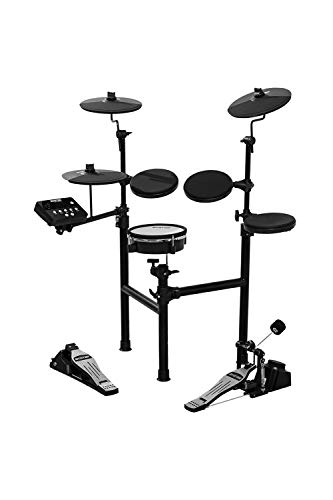 HXW SD61-2 Electric Drum Set 8 Piece Electronic Drum Kit, Dual-zone Mesh Head Snare and Cymbal Pad with Choke, Support USB-MIDI, Super-solid Metal Rack, Drum Sticks & Drum Key Included