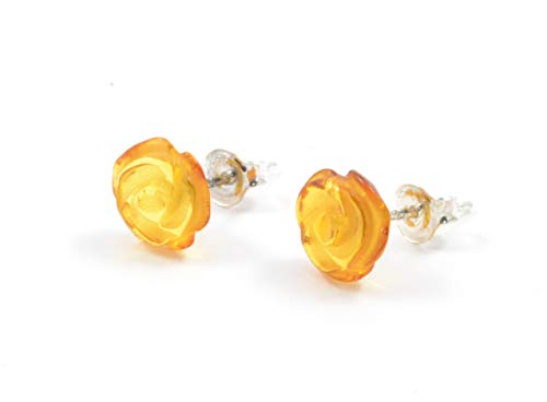 Genuine Baltic Amber Rose Stud Earrings with Sterling Silver, Hand Made from Genuine Baltic Amber (Honey)