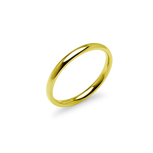Yellow Gold Tone High Polish 2mm Plain Comfort Fit Wedding Band Ring Stainless Steel, Size 6 - Wedding Bands Stainless Steel