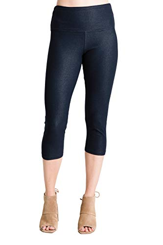 INTRO. Tummy Control High Waist Capri Length Legging Knit Denim-MED