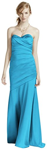 Long Strapless Stretch Satin Bridesmaid Dress Style F15586 – malibu