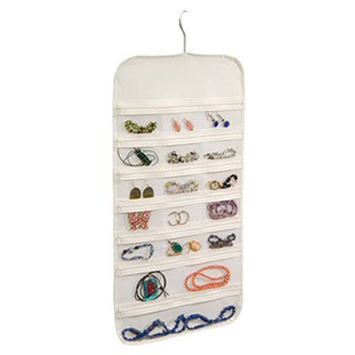 Hanging Jewelry Organizer White 37 Pockets Bedroom Closet Accessory Storage