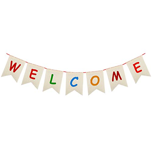 Welcome Party Banner Sign - No DIY Required/for Back to School, First Day of School Classroom Birthday Wedding Baby Shower Bunting House Home Welcome Party Decorations -Real Burlap 075