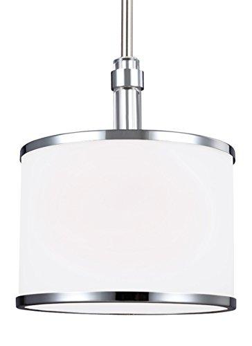 (Feiss P1417SN/CH Prospect Park Glass Drum Pendant Lighting, Satin Nickel, 1-Light (8