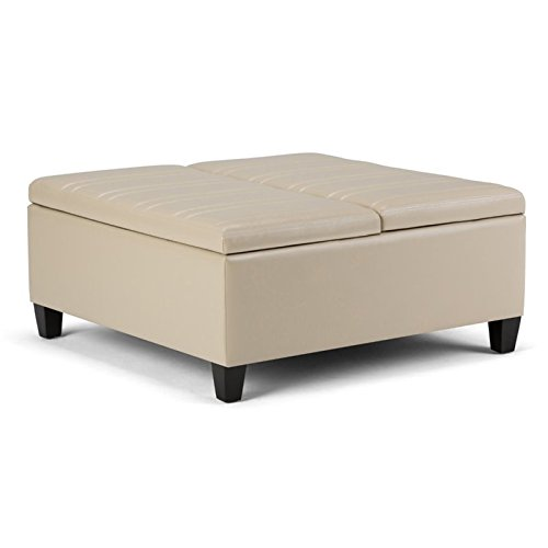 Atlin Designs Storage Coffee Table Ottoman in Satin Cream