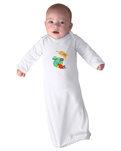 Price comparison product image Future Traveler Planet Car Plane Suitcase Infant Baby Rib Layette Sleeping Gown & Hat Set White