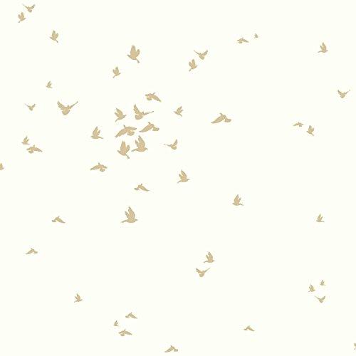 York Wallcoverings DwellStudio Baby and Kids Fable Bird, Metallics/White/Off Whites ()