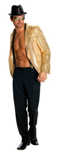 [Rubie's Costume Deluxe Men's Gold Sequin Jacket, Gold, Large Costume] (80s Costumes For Family)