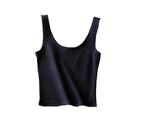 Breathable Cotton Women Summer Camisole Baselayer Vest Black Multicolor-K