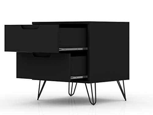 Bedroom Manhattan Comfort Rockefeller Mid-Century Modern 2 Drawer Bedroom Nightstand, 20.08″, Black modern bedroom furniture