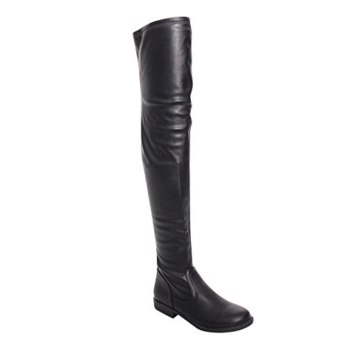 Bamboo Montana-53 Women's Stretch Side Zipper Snug Fit Thigh High Riding Boots,Black Pu,8.5 by Bamboo