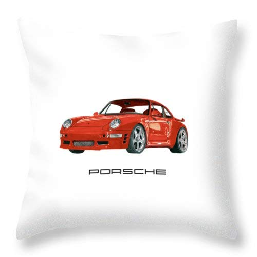 (1997 Porsche 993 Twin Turbo R Soft Cotton Throw Pillow Cover with Invisible Zipper for Bed Sofa Cushion Pillowslip 18x18 inch 45x45cm)