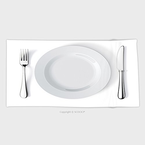 27.5W x 11.8L Inches Custom Cotton Microfiber Ultra Soft Hand Towel Place Setting With Plate Knife And Fork 52737526