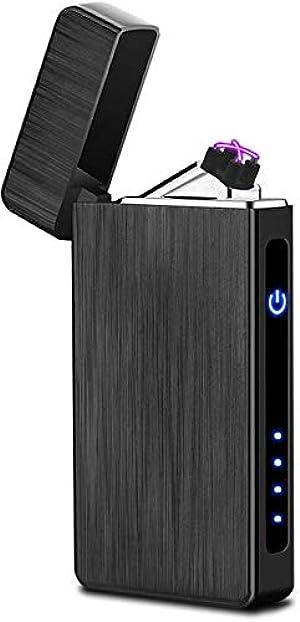 Arc Lighter USB Rechargeable Electric Lighters Windproof Flameless Lighter Arc Plasma Lighter with LED Battery Indicator (Black Brushed)
