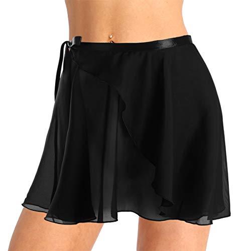 Alvivi Ladies Girls Chiffon Tie Waist Ballet Wrap Over Scarf Dance Leotard Skate Tutu Skirts Black One Size