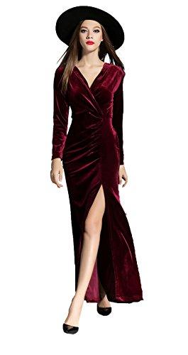 Vinckey Womens V-neck Long Sleeve Velvet Wrap Split Eveni...