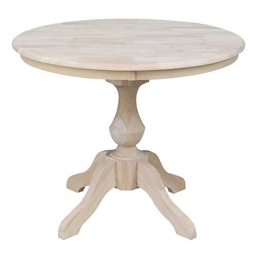 International Concepts K-36RT-11B 36'' Round Top Pedestal Table-28.9'' H, Unfinished by International Concepts