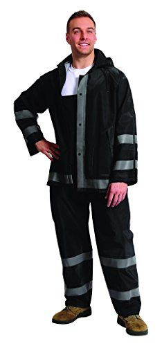 Galeton 12261-L-BK 12261 Repel Rainwear Reflective 0.35 mm PVC Rain Suit, Black, Large