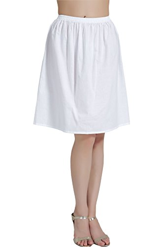 (Womens Half Slip 100% Cotton Vintage Underskirt in 5 Lengths White Black Ivory S/M/L/XL)