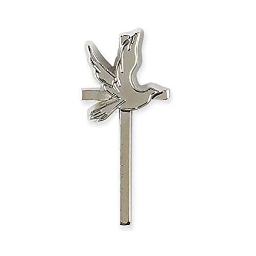 Flying Dove Confirmation Cross Silver-Plated Lapel Pin