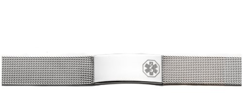 Ladies Stainless Steel Medical Alert ID Mesh Bracelet