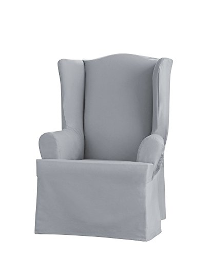 Sure Fit Heavyweight Cotton Duck Wing Chair Slipcover - Pacific Blue