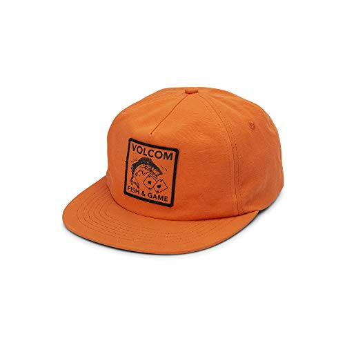 Volcom Men's Fish and Gaming Five Panel Snap Back Hat, Tiger Lily, One Size Fits All (Fish Men Hats)
